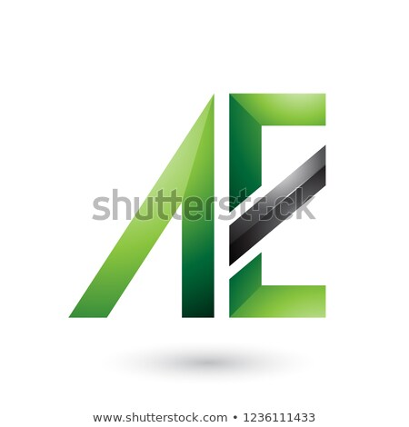 Green and Black Geometrical Dual Letters of A and E Vector Illus Stock photo © cidepix