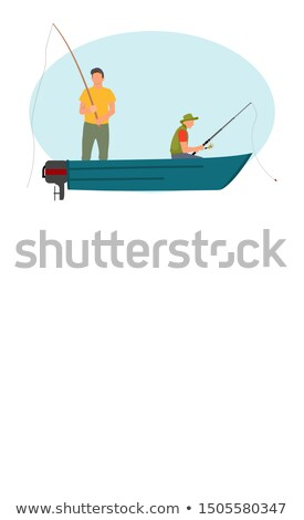 Halászat férfi motorcsónak rúd poszter ül Stock fotó © robuart