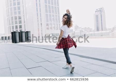 молодые черную женщину ходьбе городской улице шарф Сток-фото © Stasia04