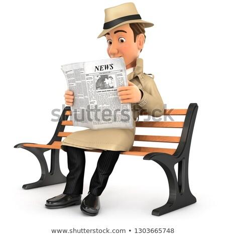 3D détective lecture journal public banc Photo stock © 3dmask