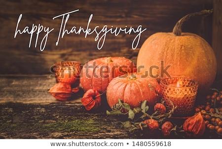 Hálaadás halloween csendélet tökök gyümölcs levelek Stock fotó © brebca