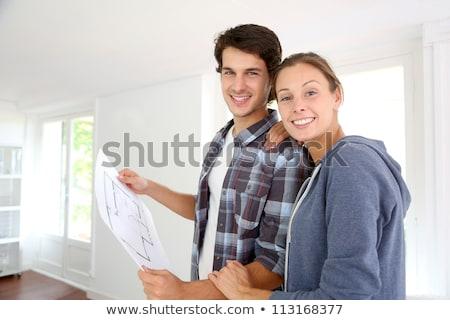 boldog · pár · terv · új · otthon · jelzálog · emberek - stock fotó © dolgachov