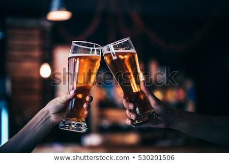 retro · man · mok · bier · pop · art · vector - stockfoto © rogistok