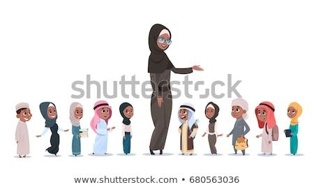 Arab moslim jongen schooljongen kid vector Stockfoto © pikepicture