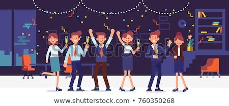 Business men and women fun office party. Flat cartoon people dancing fools day Stock photo © orensila