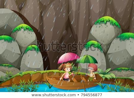 Scène jongen meisje roeien boot regen Stockfoto © colematt
