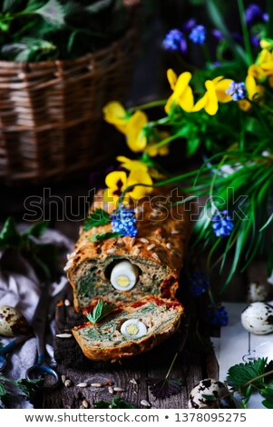 Wild nettle  whole grane loaf with eggs. Style rustic.  Stock photo © zoryanchik