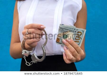 рук наручники бумаги деньги Сток-фото © OleksandrO
