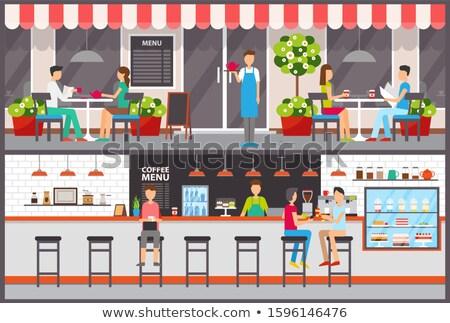cafe bar interior and exterior waiter and barista stock photo © robuart
