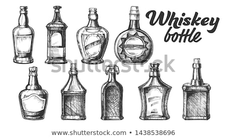 Drawn Blank Whisky Bottle With Flip Cap Vector Stock photo © pikepicture