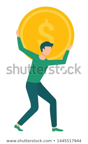 man carrying golden coin in hands with dollar sign stock photo © robuart