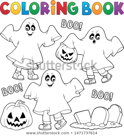 coloring book kids in ghost costumes 1 stock photo © clairev