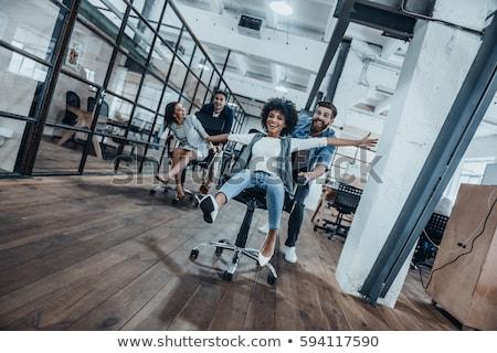 Ofis koltuğu yarış çalışmak mutlu ofis Stok fotoğraf © lichtmeister