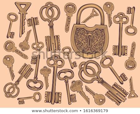 Clássico chave medieval cor vetor trancar Foto stock © pikepicture