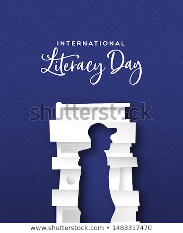 Literacy Day card papercut man silhouette in books Stock photo © cienpies