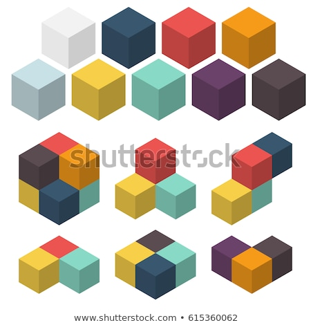 Isometric three blocks or cubes. Isometric cubes for 3d designing. Mathematical object with three-di Stock photo © kyryloff