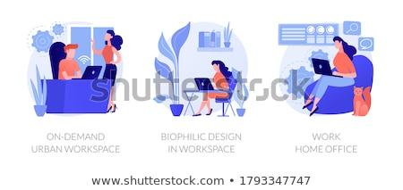 Városi munkaterület üzletemberek wifi munka megbeszélés Stock fotó © RAStudio