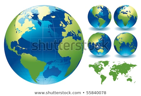 Green Transparent Glass Planet Earth Globe On A White Foto stock © rtguest