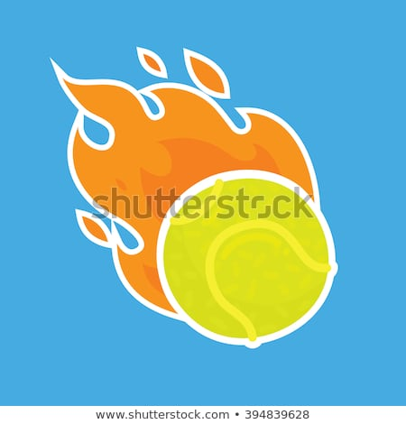 Tennis Ball Flame Icon Vector Outline Illustration Stock photo © pikepicture