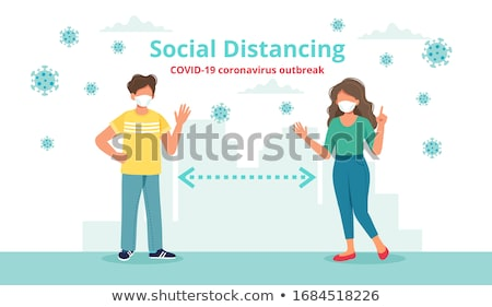 Social Distancing Waving Couple Vector Stock photo © THP