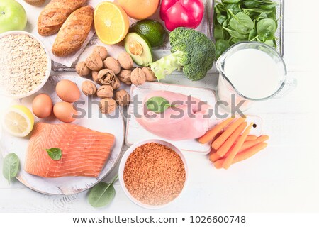 Stock photo: vegetables, chicken and bread