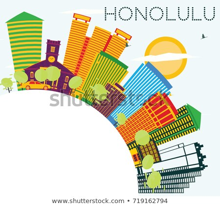 Gliederung Honolulu Hawaii Skyline blau Gebäude Stock foto © ShustrikS