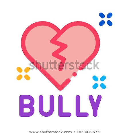 bully broken heart icon vector outline illustration Stock photo © pikepicture