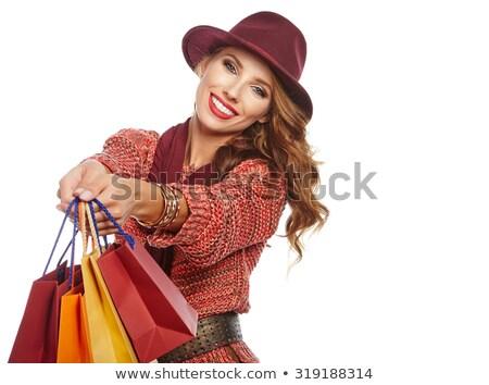 Sorridente mulher jovem cabelos longos outono casaco Foto stock © deandrobot