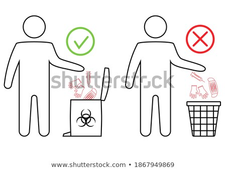 man throwing latex gloves to the trash can Stock photo © nito