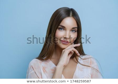 Keyifli bakıyor kadın uzun karanlık Stok fotoğraf © vkstudio