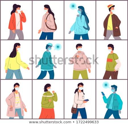 Ingesteld illustraties jonge gezonde mensen virus Stockfoto © robuart