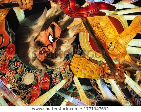 Antica asian guerriero pittura porta tempio Foto d'archivio © pancaketom