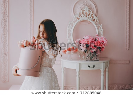 pretty girl with pink flowers stock photo © anna_om