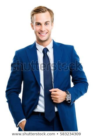 jonge · zakenman · geïsoleerd · witte · handen · werk - stockfoto © Raduntsev