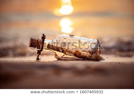 navio · garrafa · praia · fundo · deserto · oceano - foto stock © photocreo