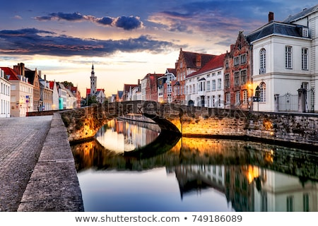 Belçika kanal gökyüzü su seyahat taş Stok fotoğraf © maisicon