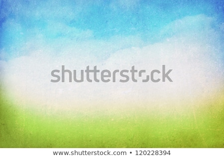 Stock fotó: Grunge · kép · zöld · mező · kék · ég · citromsárga