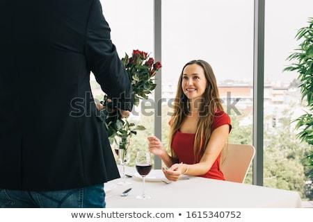 Man verrassend vriendin bos bloemen liefde Stockfoto © photography33