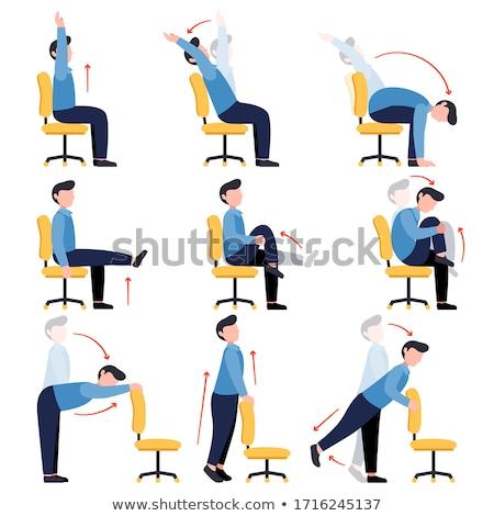 ストックフォト: 男 · ストレッチング · オフィス · 手 · 背景 · ビジネスマン