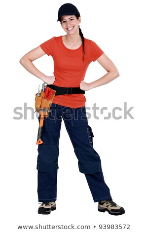 full length portrait of a smiling tradeswoman stock photo © photography33