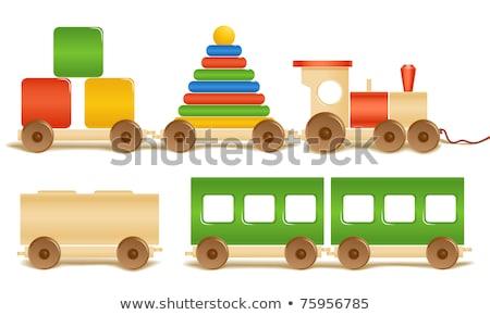 Houten speelgoed tank witte speelgoed schone hout Stockfoto © filipok
