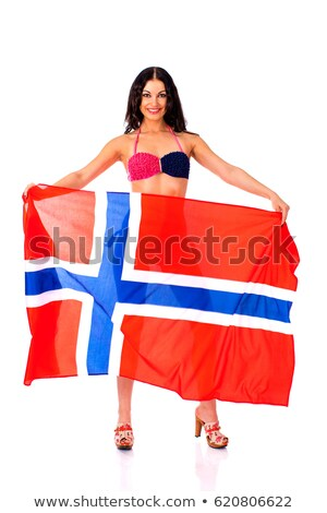 Large banner with gorgeous happy brunette. Stock photo © lithian