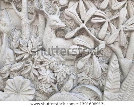 Fehér stukkó thai stílus fal textúra Stock fotó © H2O