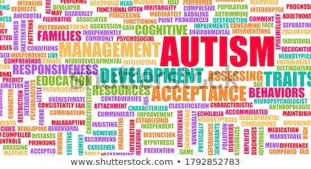 Autizmus szó piros szín szöveg fehér Stock fotó © tashatuvango
