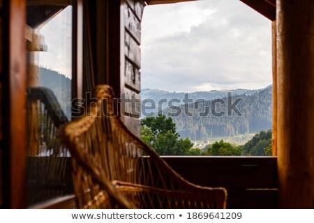 cadeira · casa · de · campo · convés · lago · ver - foto stock © gordo25