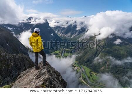 escandinavia · valle · hombre · pie · primavera · hierba - foto stock © motttive