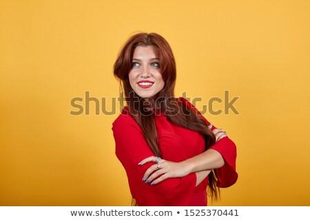 Mulher vestido vermelho cara feminino Foto stock © wavebreak_media