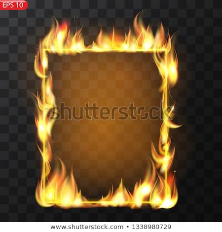 Yangın Alevler sınır afiş form yatay Stok fotoğraf © mtkang