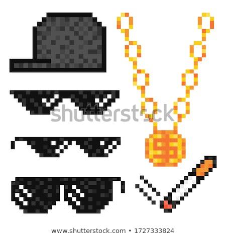 rajz · gengszter · fegyver · kalap · izolált · férfiak - stock fotó © clairev