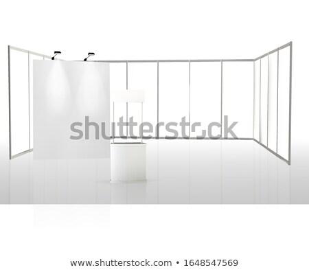Tentoonstelling uitrusting poster eerlijke bureau muur Stockfoto © Anterovium